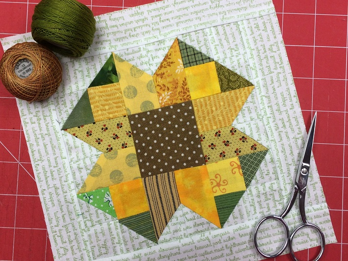 August Scrappy Sunflower block