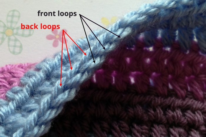 Defining front loop back loop of the half double crochet stitch