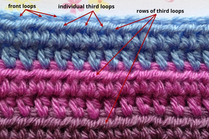 Defining middle loops of a half double crochet stitch
