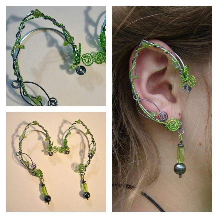 Elf Ears with Peridot and Hematite