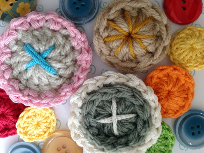 Embellished crochet buttons