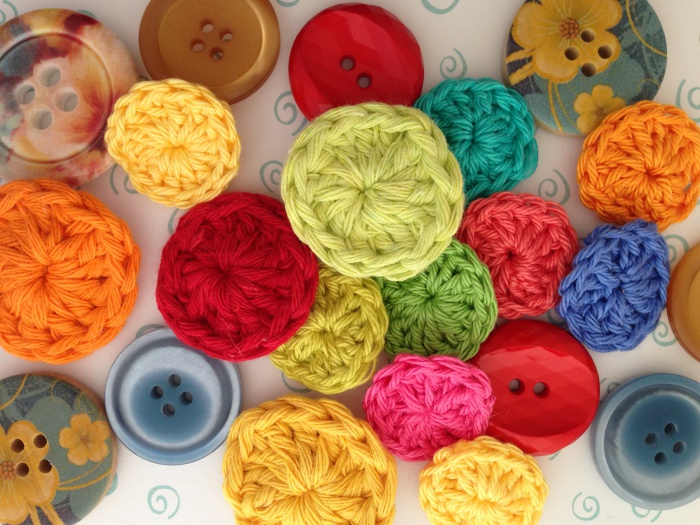 Crochet buttons can add color to any project