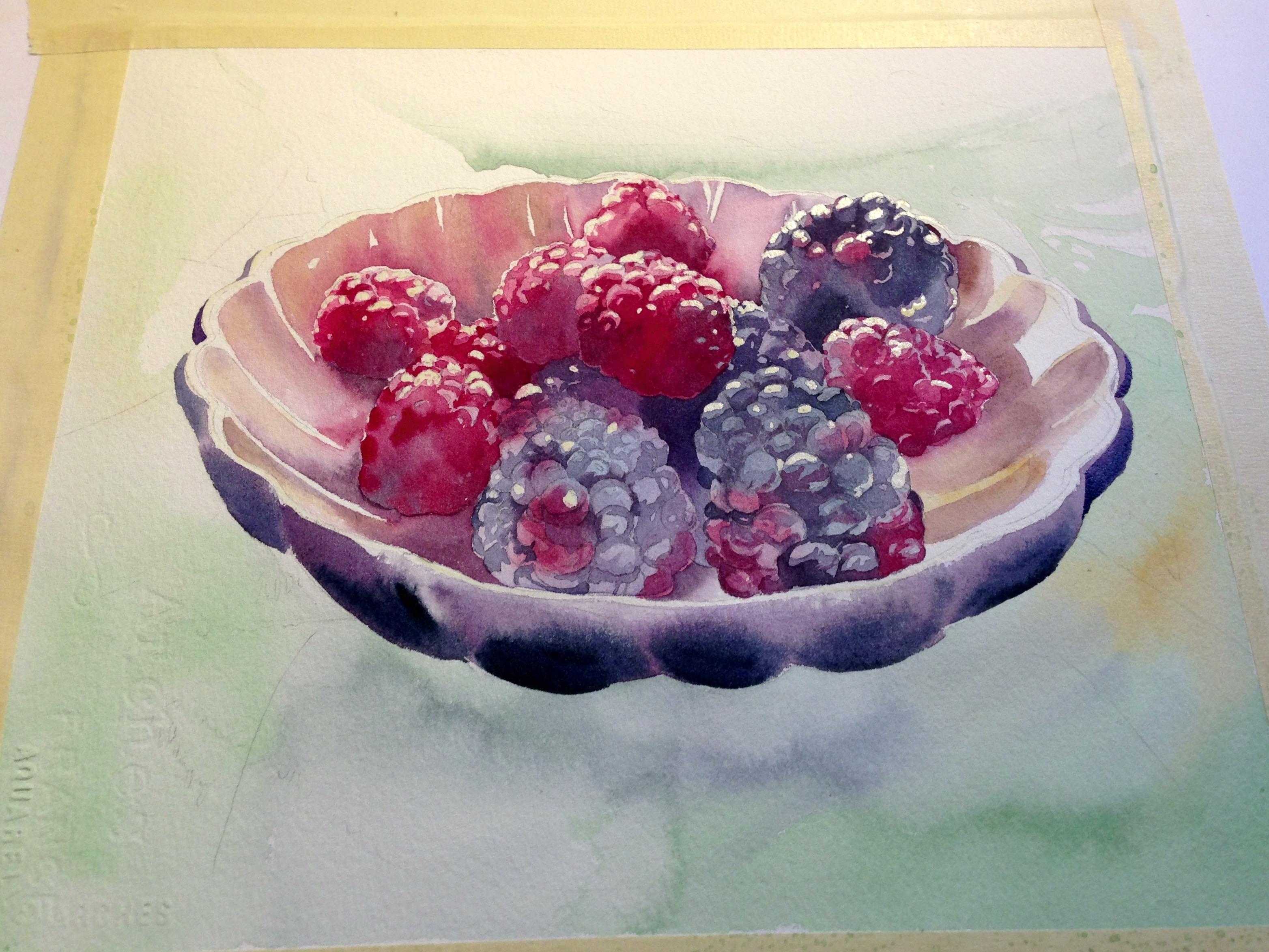 Paint shadows to establish light in still life paintings