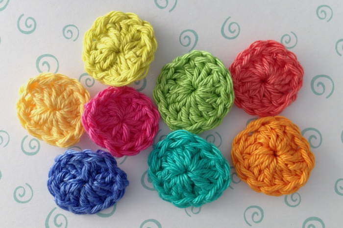 Crochet buttons ready for use
