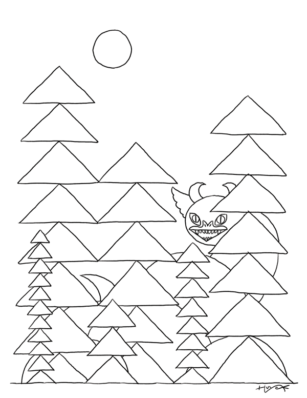 Simple drawing of a curvy dragon among triangular trees