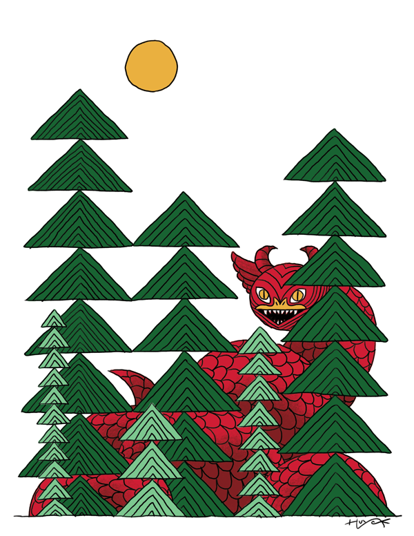 This version, with the dragon colored red against the green trees, has a lot of pop!