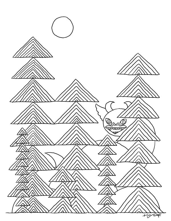 Textured trees disguise a plain dragon