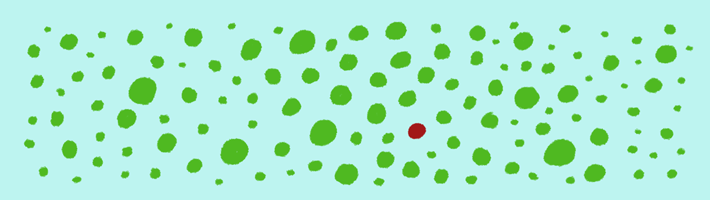 A red dot in a field of green dots is the focus of attention