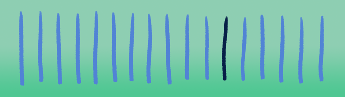 A darker stripe jumps out from a row of lighter ones