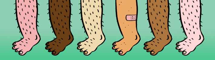 A shaved leg among hairy legs attracts the eye, despite a variety of colors