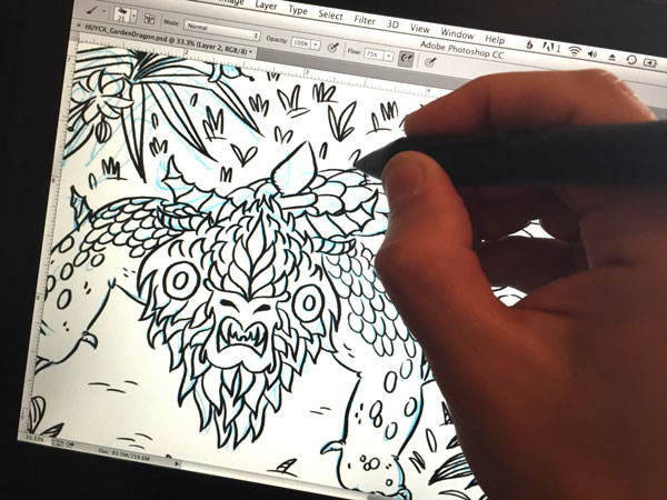 Drawing in Photoshop over my scanned-in sketch
