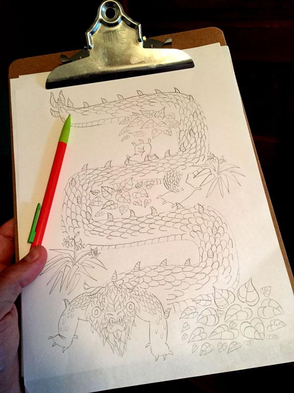 Garden dragon sketch, pencil on paper