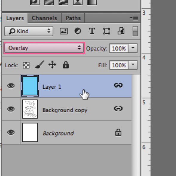Creating a color overlay to make my line drawing appear in light blue