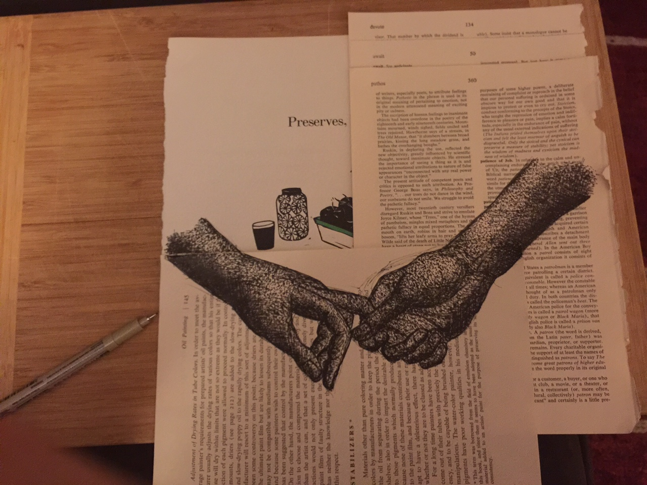 Hands drawn on book pages