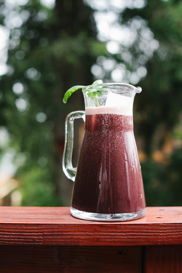 Blueberry, Cucumber, Lemon, And Basil Agua Fresca