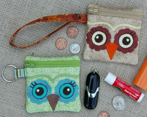In the Hoop Small Owl Wristlet