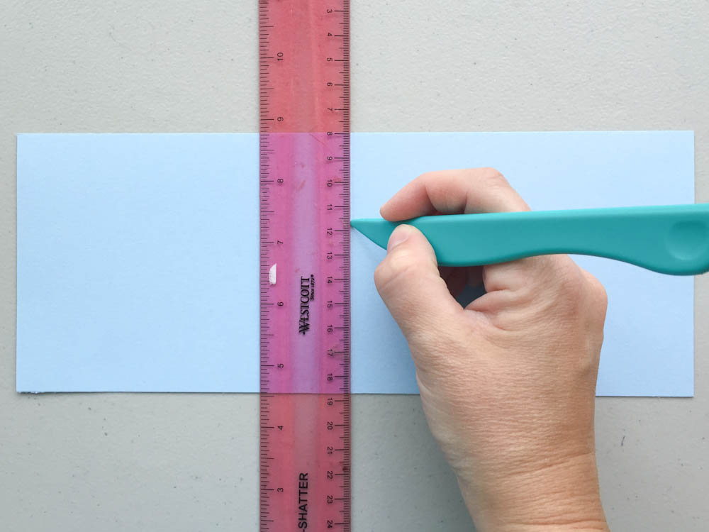 how to score cardstock using a ruler