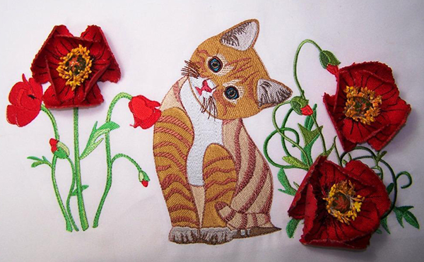 Kitten with Red Poppies