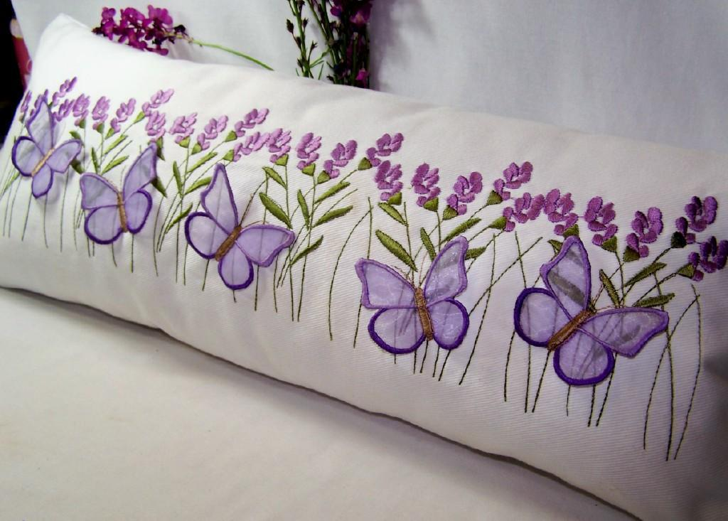 Lavender and Butterfly Pillow