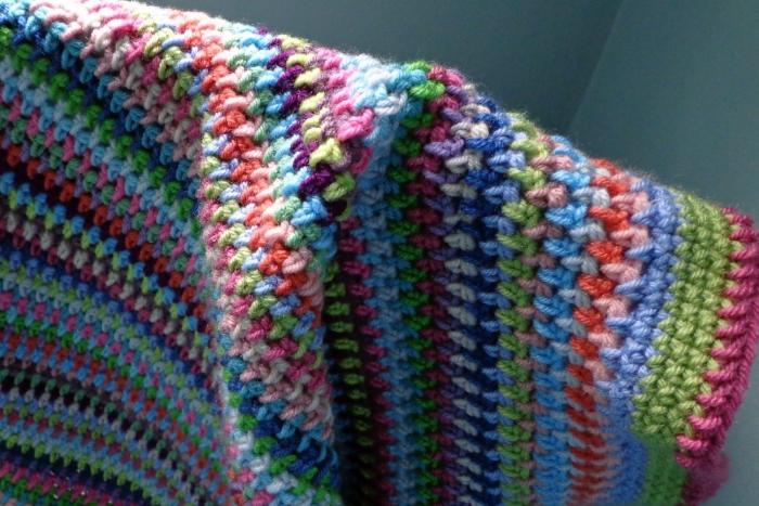 Half double crochet stitch linen stitch blanket