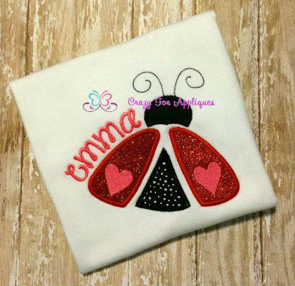 Love Bug glitter vinyl applique