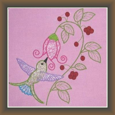 Machine Embroidery Hummingbird