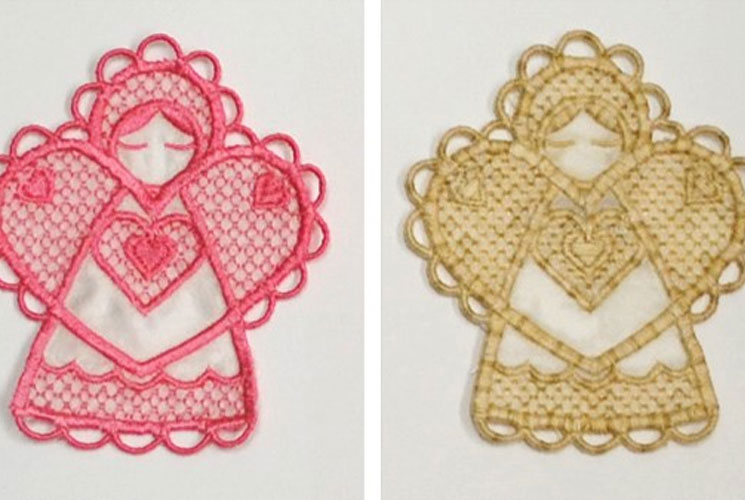 machine embroidered angels