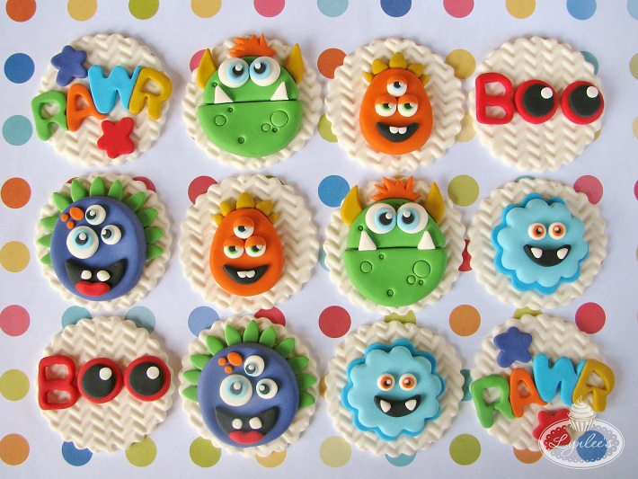 Monsters fondant cupcake topper collection