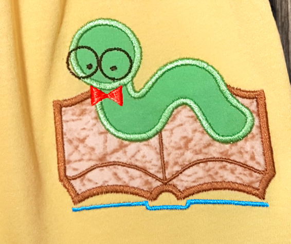 Nerdy Bookworm Applique Embroidery