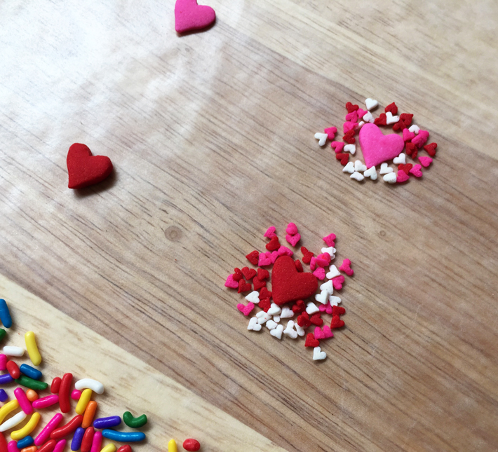 smaller hearts around the large ones
