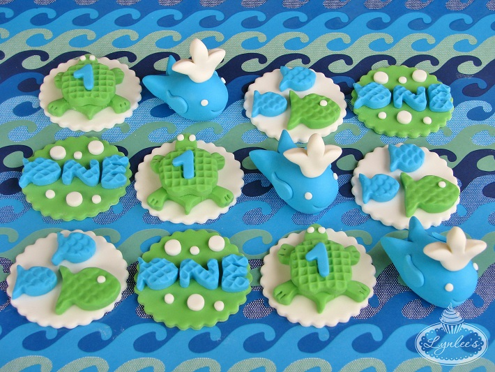Sea fondant cupcake topper collection