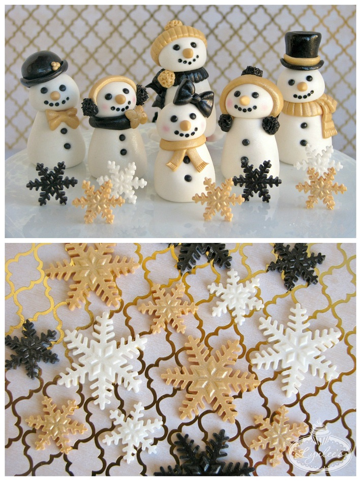 Snow fondant cupcake topper collection