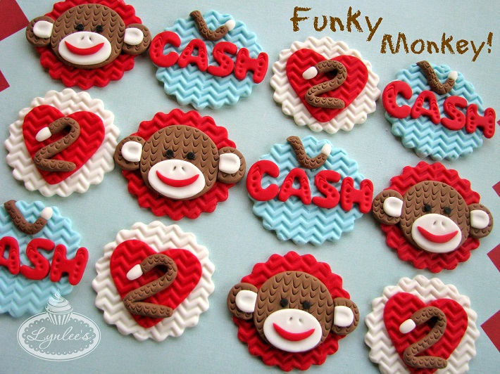 Sock monkey fondant cupcake topper collection