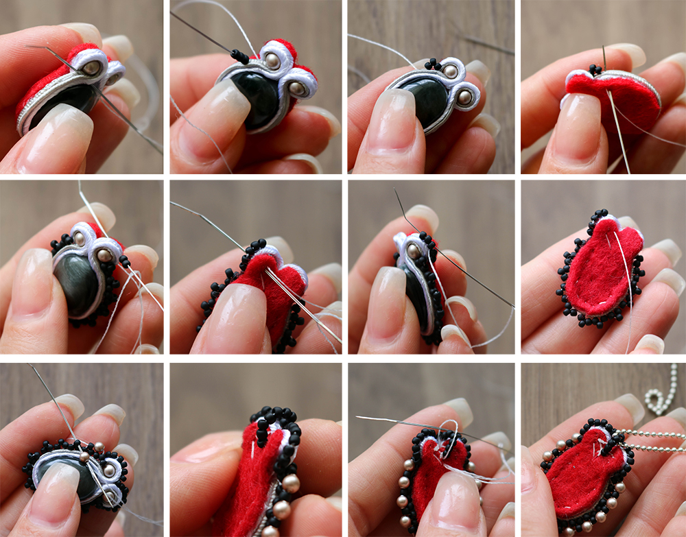 Soutache Necklace tutorial-add beaded detail to the soutache