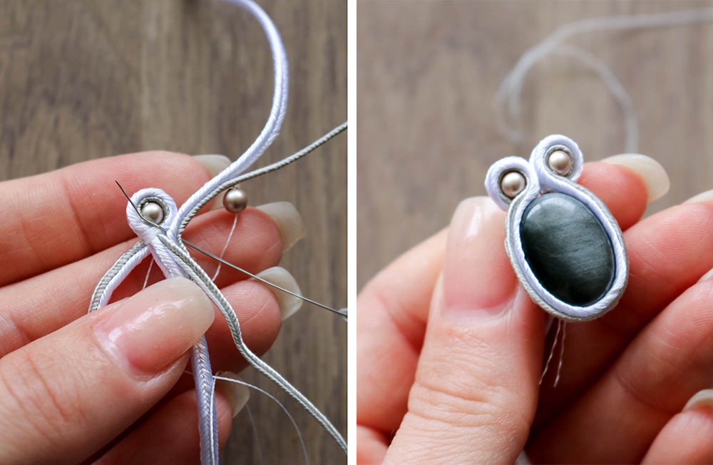 Soutache Necklace tutorial-attach the second pearl