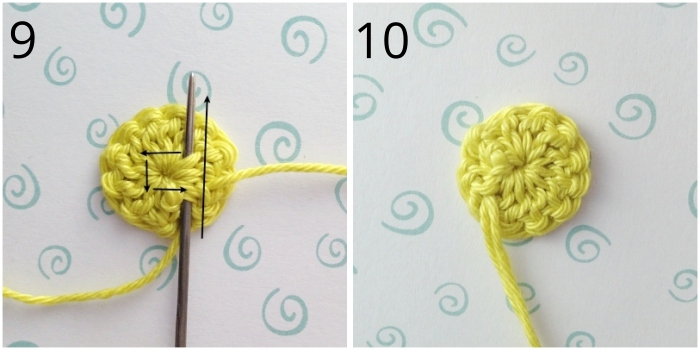 Tight finishes for crochet buttons