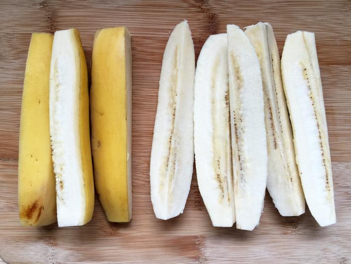 Cut each saba banana into 4 pieces lengthwise