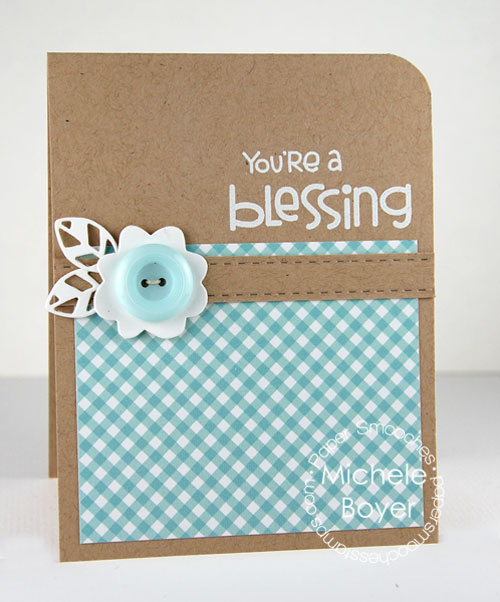 """You're a Blessing"" card made with pattern blocks"