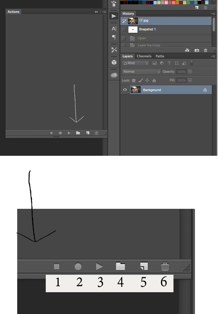 Actions Menu in Photoshop