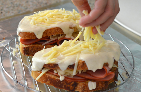 Building a Croque Monsieur Sandwich