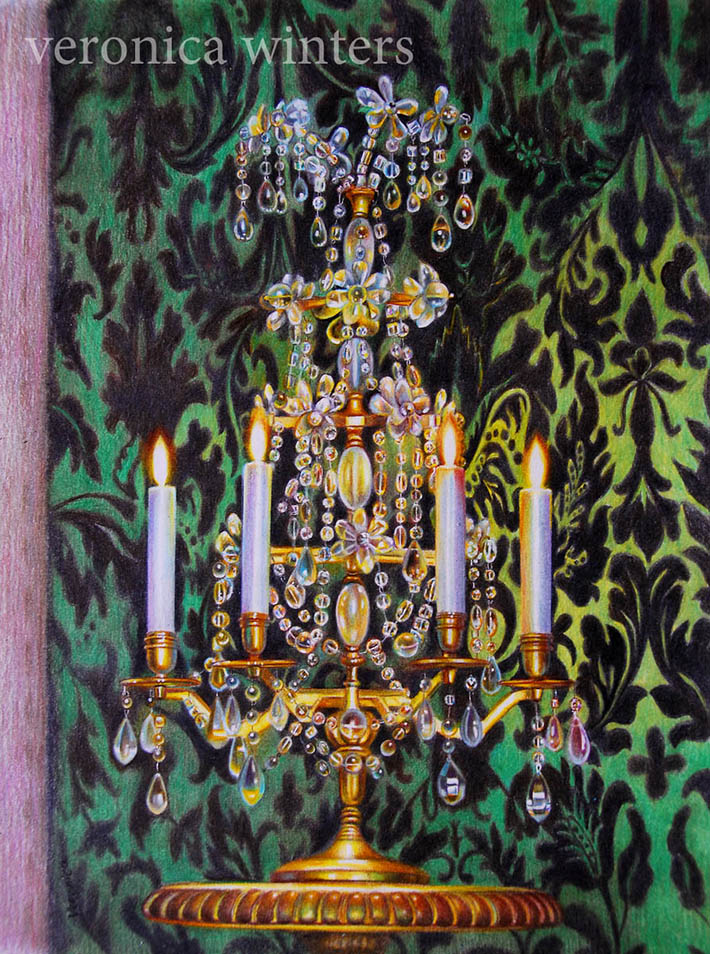 Crystal candleholder colored pencil drawing by Veronica Winters