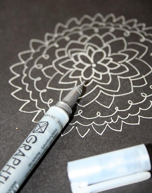 Paint pen on dark surface