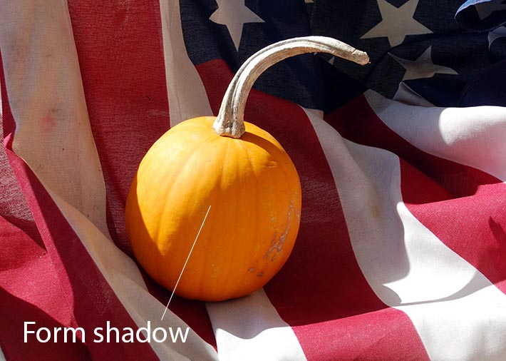 Form shadow on a pumpkin