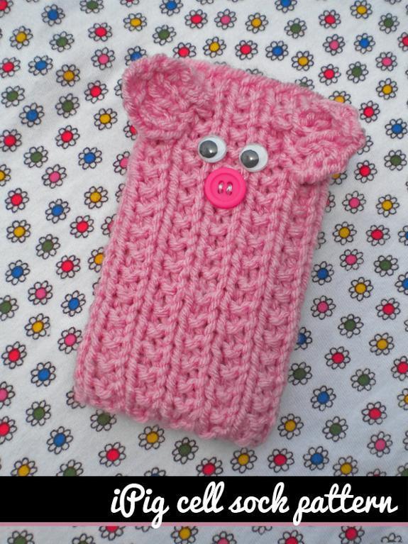 iPig Cell Phone Sock Knitting Pattern