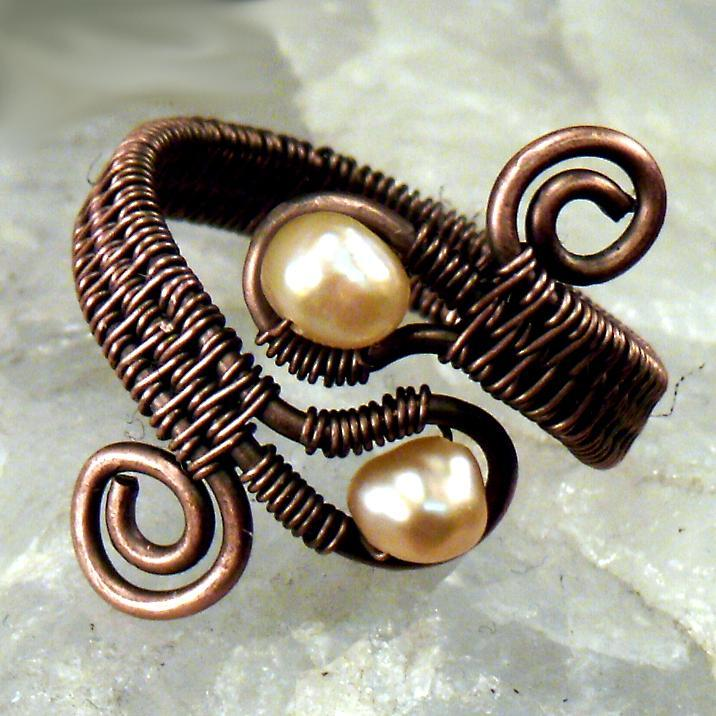 Double Gem Woven Wire Ring Jewelry Pattern