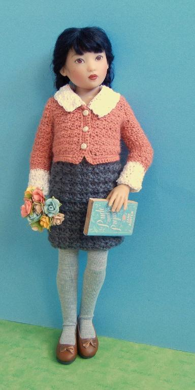 School Dress Cardigan for 14-Inch Dolls Crochet Pattern