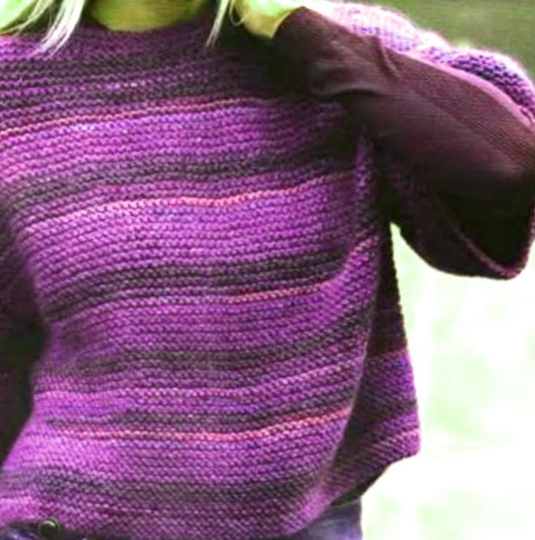 Garter Stitch Short Sleeves Pullover Knitting Pattern