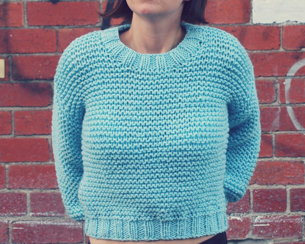 Super Chunky Easy Knit Midriff Sweater Knitting Pattern