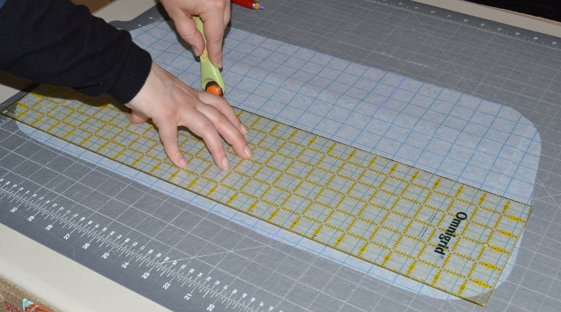 cutting the grid material in half