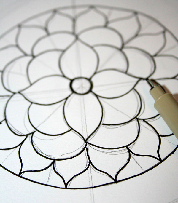 Ink on mandala